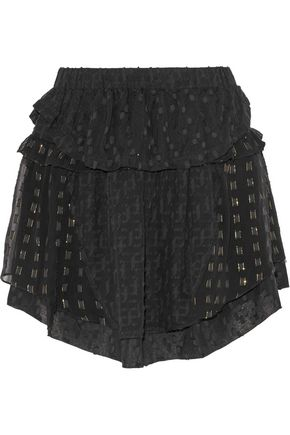 IRO Cintie ruffled metallic fil coupé silk-blend chiffon mini skirt