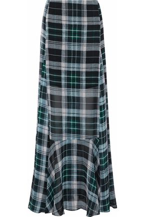 McQ Alexander McQueen Fluted checked silk-chiffon maxi skirt