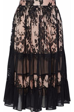 ZIMMERMANN Ruffled cotton-blend lace and silk-georgette midi skirt