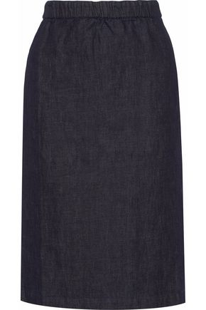 MARNI Cotton and linen-blend chambray skirt