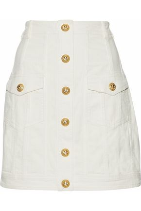 BALMAIN Button-embellished denim mini skirt