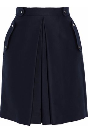 BELSTAFF Pleated cotton-silk ponte mini skirt