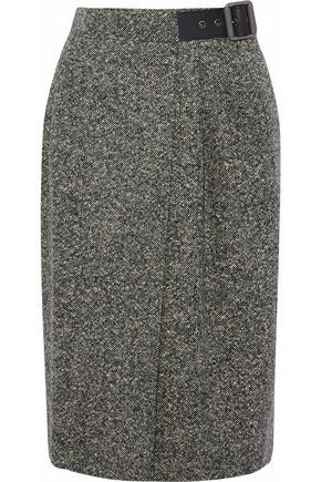 BELSTAFF Pleated wool-blend tweed wrap skirt