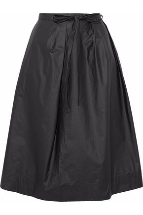 MAISON MARGIELA Pleated coated cotton-canvas skirt