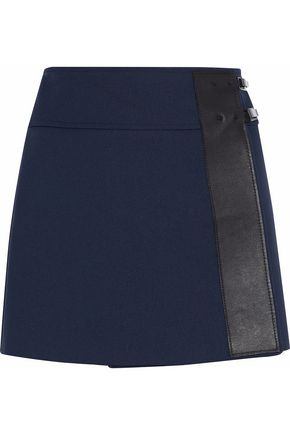 BELSTAFF Wrap-efffect cotton-blend jersey mini skirt