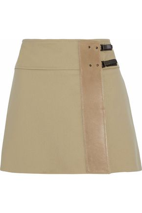 BELSTAFF Leather-paneled ponte wrap mini skirt