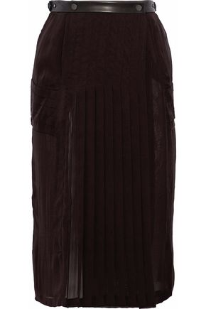 BELSTAFF Leather-trimmed pleated silk wrap skirt