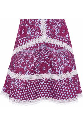 ALEXIS Crochet-trimmed guipure lace mini skirt