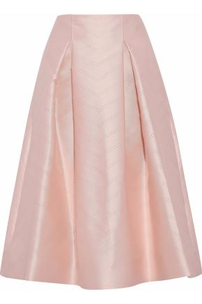 ALEXIS Flared perforation satin-twill skirt