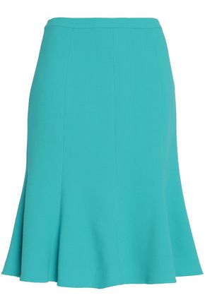 OSCAR DE LA RENTA Fluted wool-blend crepe skirt