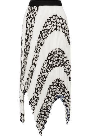 PROENZA SCHOULER Asymmetric printed plissé-cloqué skirt