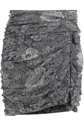 ISABEL MARANT Ipso draped printed silk-blend mini skirt