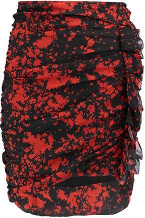 ISABEL MARANT Gathered ruffle-trimmed printed silk-blend mini skirt