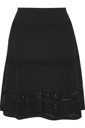 DIANE VON FURSTENBERG Rosemarie crochet-paneled stretch-knit skirt