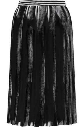 MISSONI Wrap-effect ruffled crochet-knit wool-blend skirt