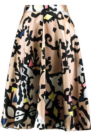 MSGM Printed cotton and silk-blend satin skirt