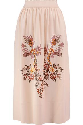 STELLA McCARTNEY Lucy embroidered crepe  midi skirt