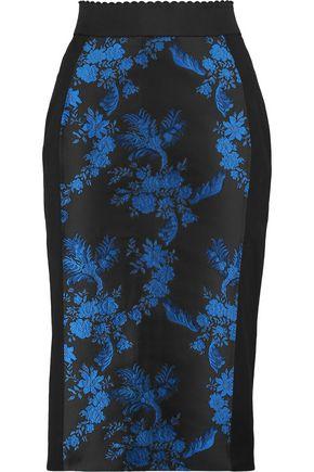 STELLA McCARTNEY Suzie embroidered twill-paneled ponte skirt