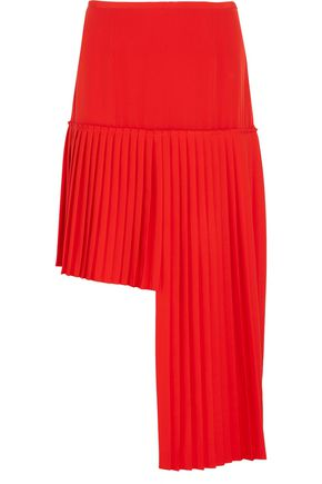 STELLA McCARTNEY Arianna asymmetric pleated wool-crepe skirt