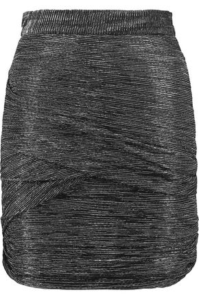 MAJE Ruched metallic stretch-knit mini skirt