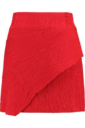 MAJE Wrap-effect textured-crepe mini skirt