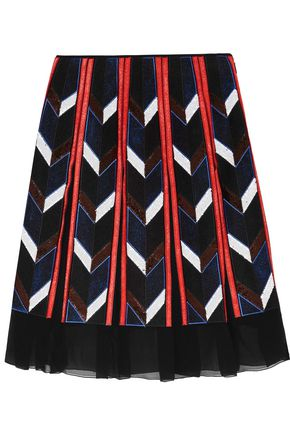 EMILIO PUCCI Pleated sequin-embellished silk skirt