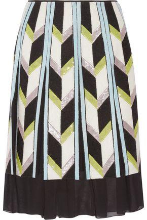 EMILIO PUCCI Embellished felt-appliquéd silk chiffon skirt