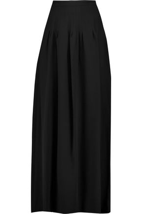 VALENTINO Pleated silk-crepe maxi skirt