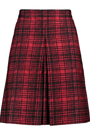 VALENTINO Pleated checked cotton-blend skirt