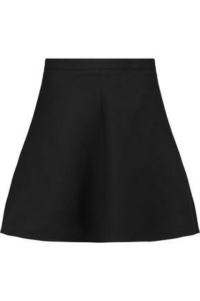 VALENTINO Wool and silk-blend twill mini skirt