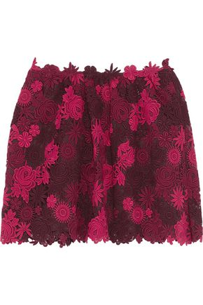 VALENTINO Embroidered cotton-blend lace skirt