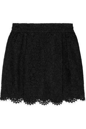 VALENTINO Layered lace and silk-organza mini skirt