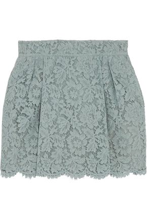 VALENTINO Silk-blend guipure lace mini skirt