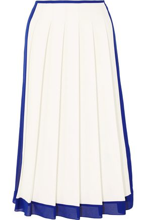 VICTORIA BECKHAM Georgette-trimmed pleated crepe midi skirt