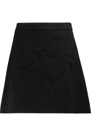 VICTORIA, VICTORIA BECKHAM Embossed wool-crepe mini skirt