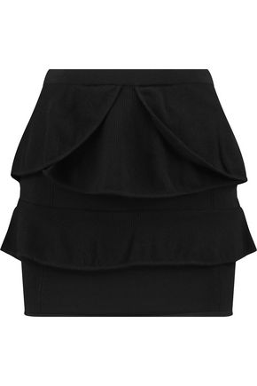 IRO Layered stretch-knit mini skirt