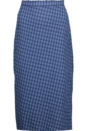 ALTUZARRA Vic checked cotton-blend seersucker skirt