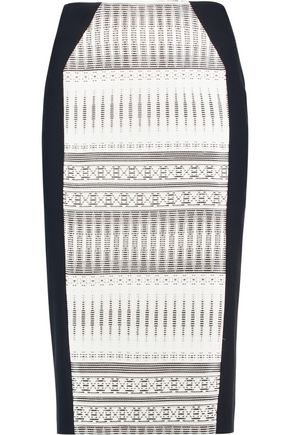 AMANDA WAKELEY Jacquard-paneled faille skirt
