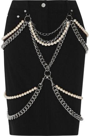 MOSCHINO Embellished crepe skirt