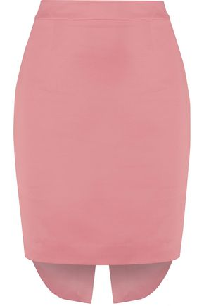 MOSCHINO Asymmetric satin-crepe mini skirt