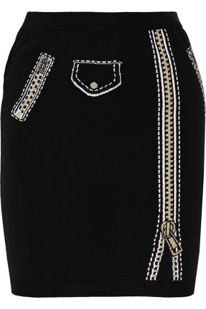 MOSCHINO Metallic intarsia and ribbed-knit wool mini skirt