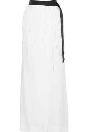 AMANDA WAKELEY Fringe-trimmed devor&eacute maxi skirt