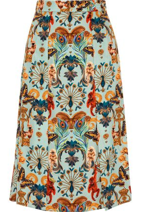 MATTHEW WILLIAMSON Regal Monkey crystal-embellished printed silk midi skirt