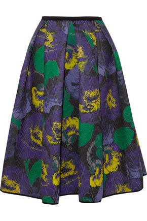 ERDEM Perforated floral-print neoprene skirt