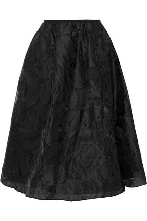 ERDEM Sofia gathered fil coupé organza midi skirt