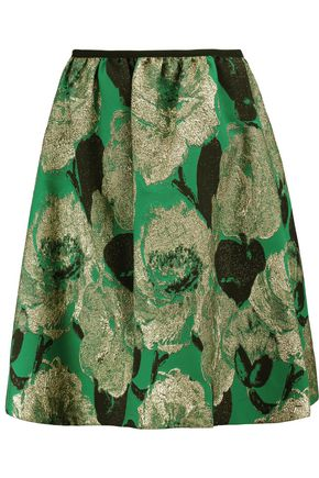 ERDEM Loren Rose metallic jacquard skirt