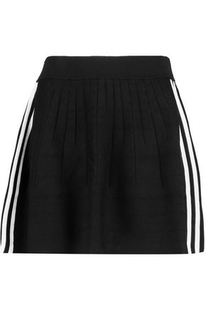 ADIDAS ORIGINALS Striped stretch-knit mini skirt