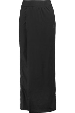 ADIDAS ORIGINALS Striped ribbed stretch-jersey wrap-effect maxi skirt
