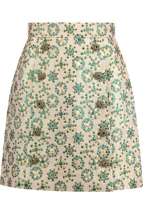 DOLCE & GABBANA Embellished metallic brocade mini skirt