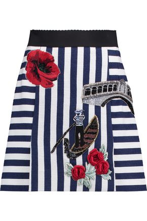 DOLCE & GABBANA Appliquéd striped cotton-blend mini skirt